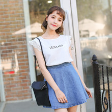 Han edition contracted sweet lady letters printing joker sleeve white shirt collar lace hollow-out feifei thin T-shirt in the summer