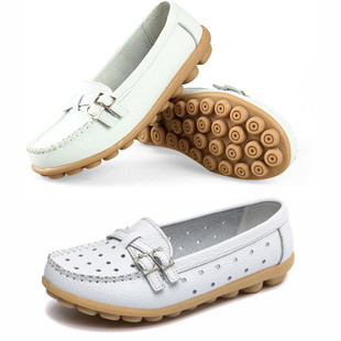 2015 Spring Peas shoes women shoes white leather flat with flat shoes mom shoes nurse shoes women work shoes