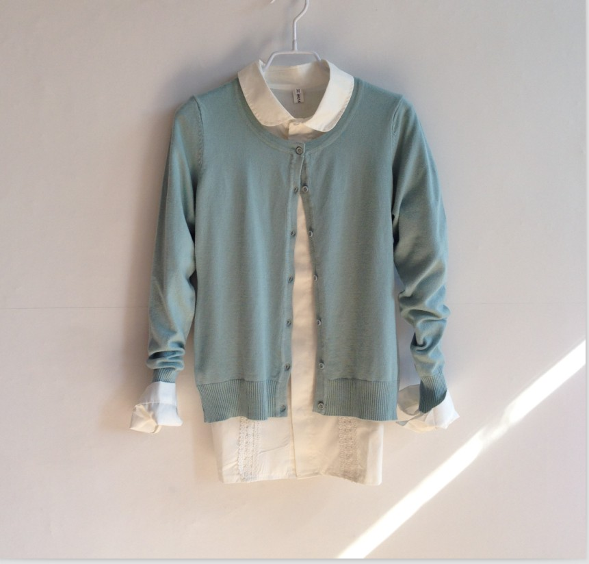 Весна/лето 2016 новый сплошной цвет тонкий длинный рукав экипажа шею свитер джемпер женщин за пределами мыса пальто, рубашки тонкий Кондиционер