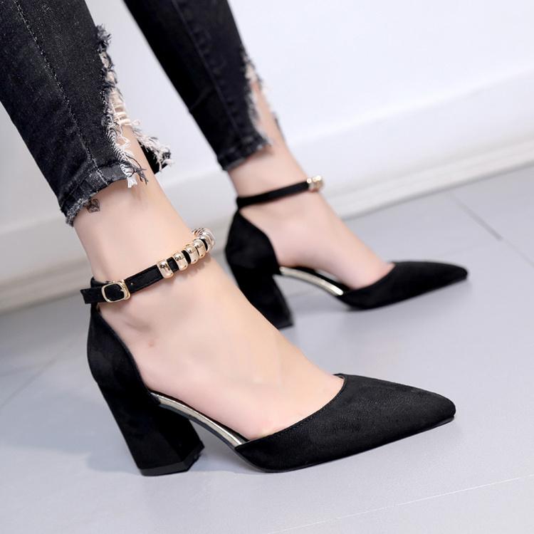 夏季2017韩版黑色尖头凉鞋高跟鞋限1000张券