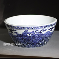 Antique Xuan Sea Dragon grain large bowl wings Dragon Grain Xuan big bowl feng shui Dragon grain Decoration treasure Pot