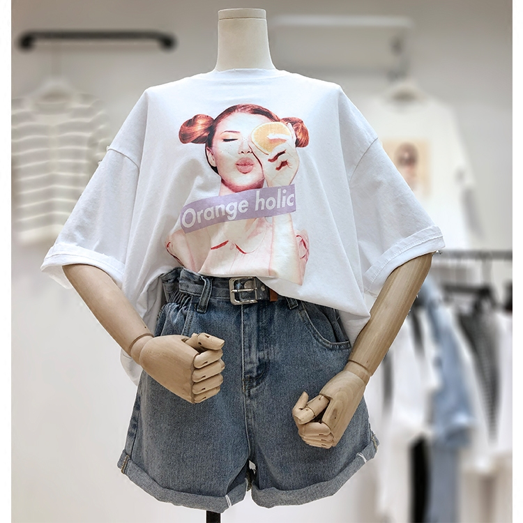 大码萝莉女装200斤胖公主胖mm遮肚子套装女夏短袖T恤卷边牛仔短裤