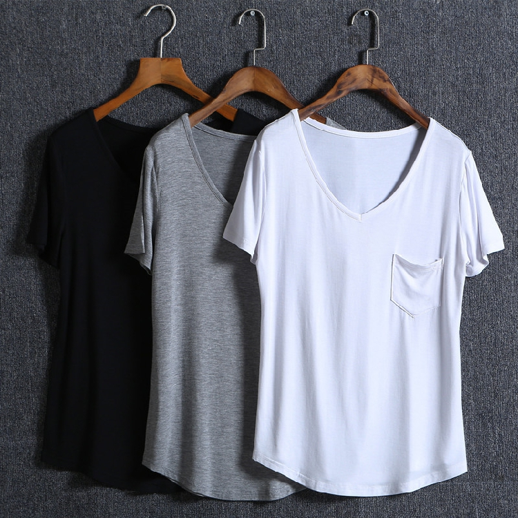 Summer new Europe and America loose solid color modal simple versatile V-neck Short Sleeve T-Shirt Large womens bottoming shirt