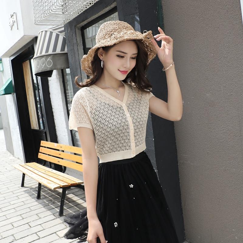 冰丝针织衫女开衫外搭夏季超短款高腰罩衫搭配吊带裙的小披肩薄款