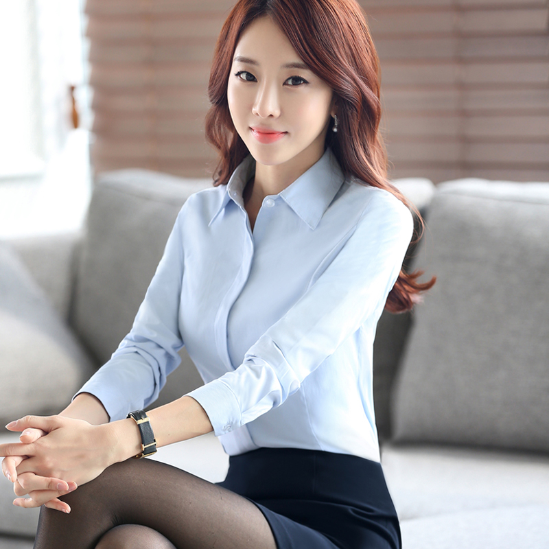 Professional shirt womens long sleeve cotton white shirt professional decoration work clothes womens dress