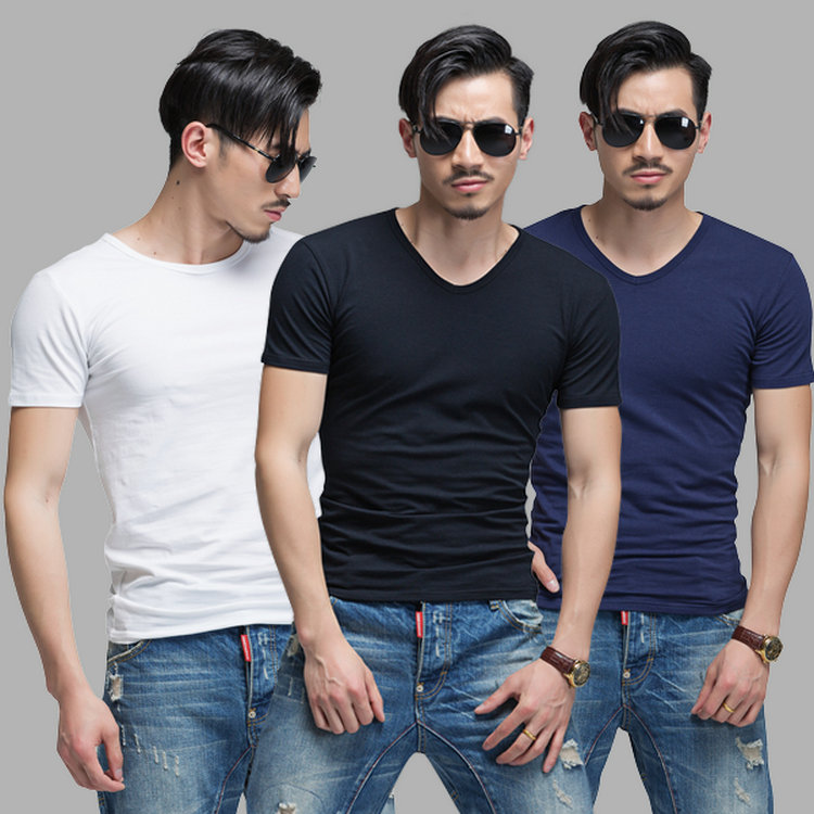 Mens V-neck short sleeve T-shirt personality solid color slim fit sports half sleeve black and white trend mens top round neck bottom shirt
