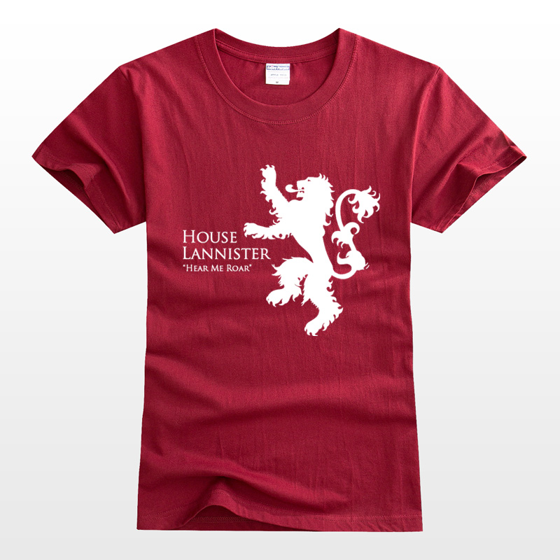 Ice and fire galanister T-shirt power game lion short sleeve mens T-shirt