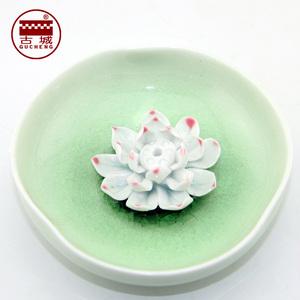 古城香業 陶瓷綠色釉荷花香盤陶瓷花朵香插線香盤香居家日用