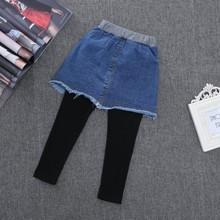 假两件裙裤2017早秋新款韩版儿童牛仔水洗磨破裤裙子女童打底裤