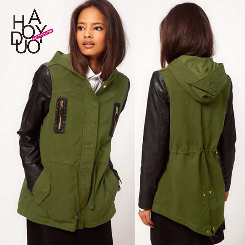 Армия зеленый балахон куртка черный PU кожаный рукав обратно талии пальто haoduoyi почта