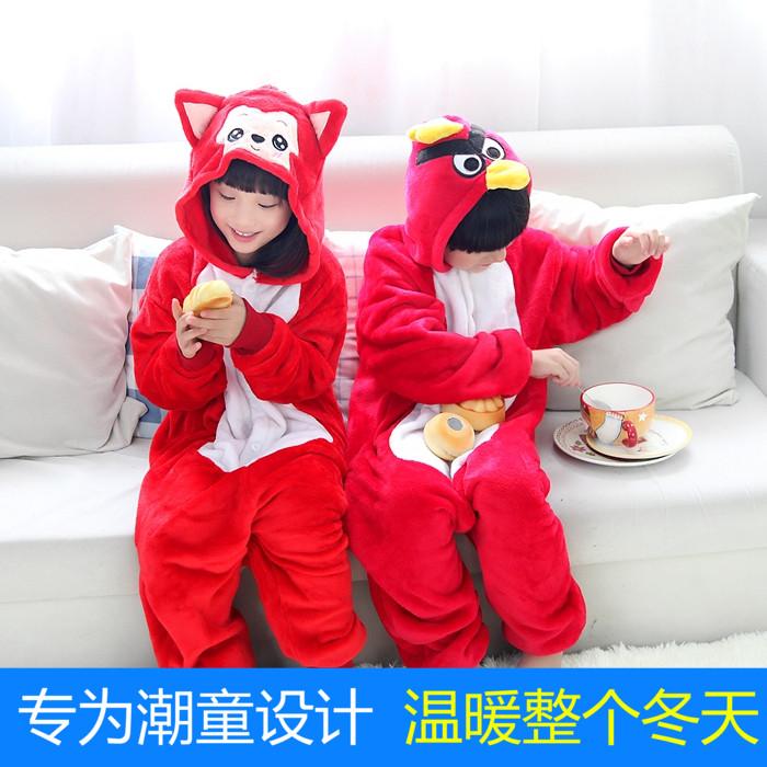 Али фланелевой животных птица мультфильм детей Детские цельный пижамы осень зима мужчин и женщин домашних услуг родительского пакета почты