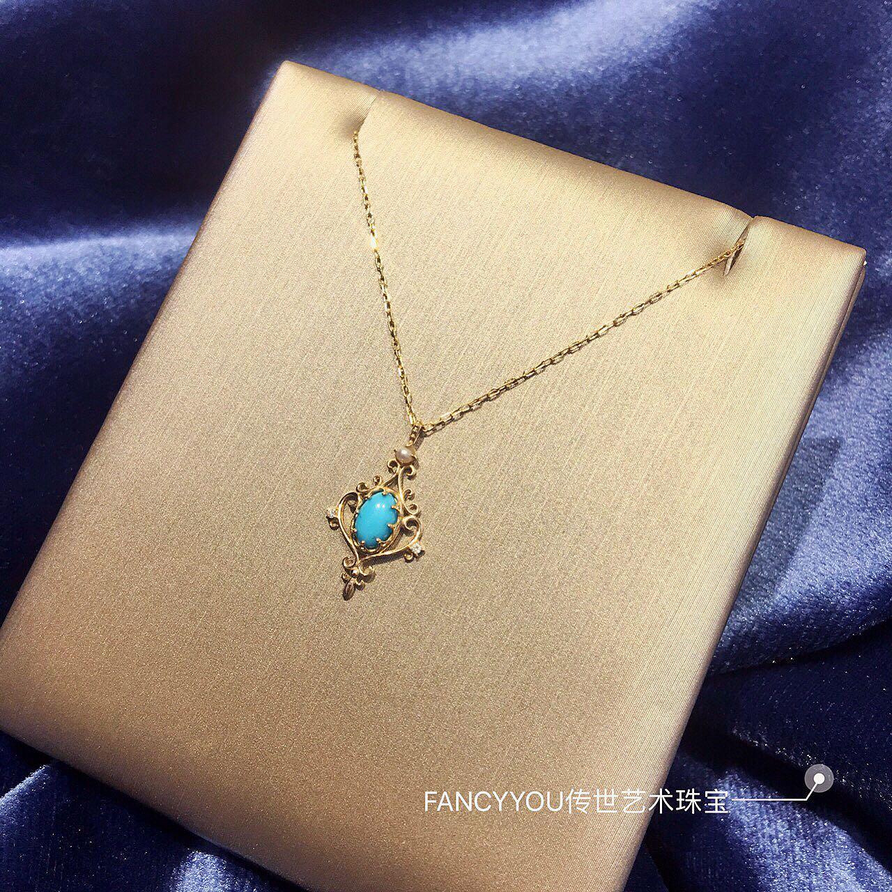 FANCYYOU-皇后的化妆镜 设计师美国绿松石珍珠钻石10k金项链吊坠