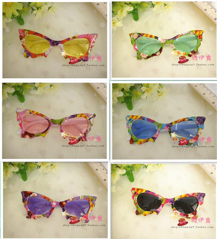 Корейский дамы ребенок маленький цветочные бабочки дети солнцезащитные очки девушки солнца принцесса зеркало солнцезащитные очки мода очки