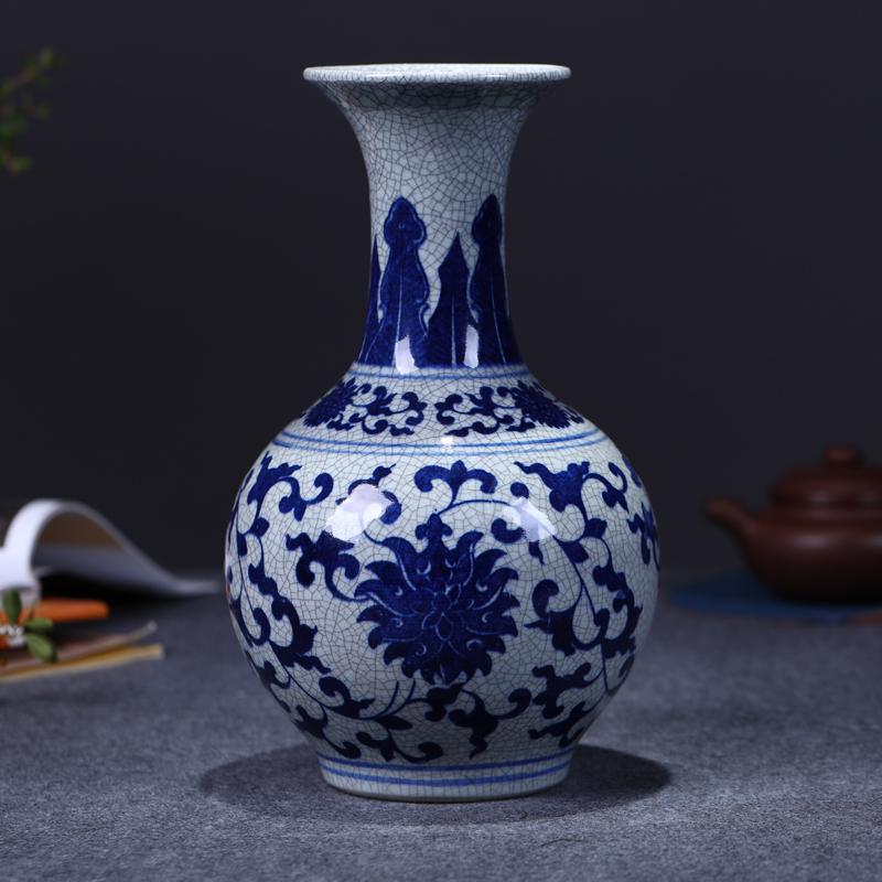 景德鎮陶瓷器 仿古青花瓷花瓶插花器 中式客廳裝飾品工藝擺件