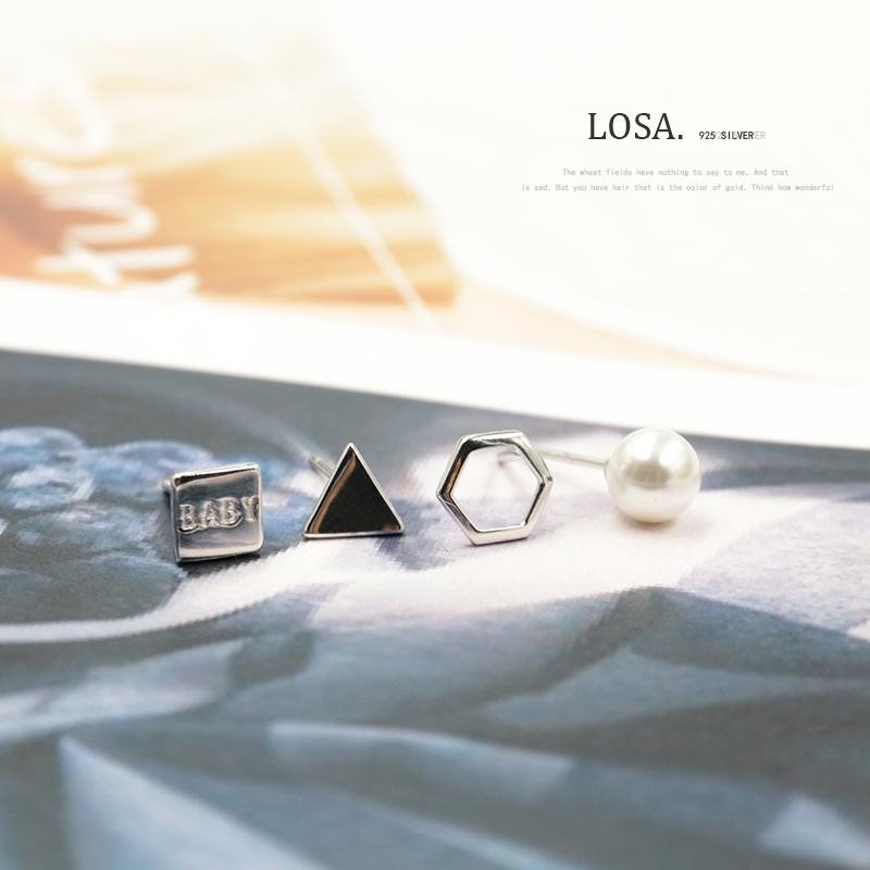 洛萨S925纯银耳钉日韩简约几何四件套方形三角贝珍珠耳饰品