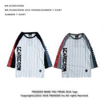 Original popular logo Japanese harajuku street sawtooth raglan stripes stripe Japanese couples male 7 minutes of sleeve T-shirt in the sleeve
