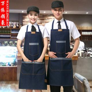Деним фартук шеф-повар работа одежда мужской и женщины служба член корейский моды кофе молочный чай магазин работа фартук сделанный на заказ, цена 512 руб