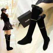 Add plush rabbit fur over knee boots flat bottom increased high length boots leather boots winter boots warm cotton boots