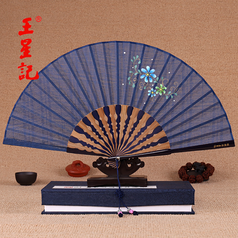 60.00元包邮王星记手绘棉麻女中国风工艺礼品扇