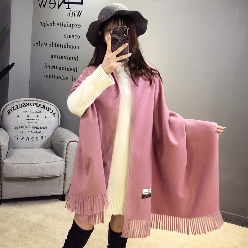 Scarf womens winter shawl long solid color versatile imitation cashmere tassel dual purpose thickened spring and autumn warm scarf