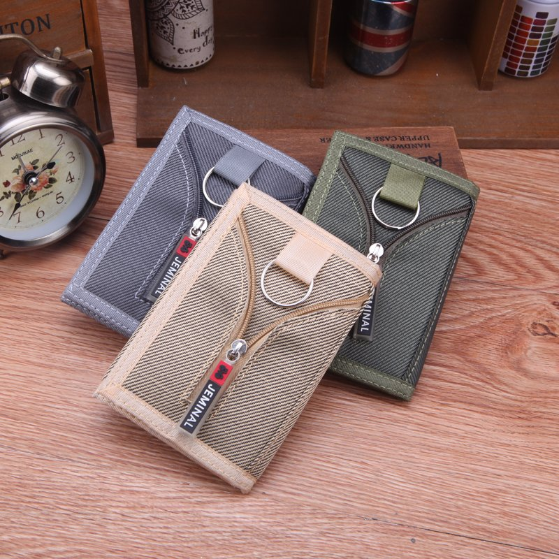 New fashion mens Canvas Wallet youth students three fold Wallet individual creativity purse with key chain