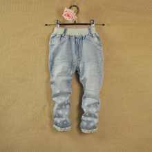 Girls' jeans 2015 children new children's clothing joker pants han edition printed denim breeches leisure nine minutes of pants