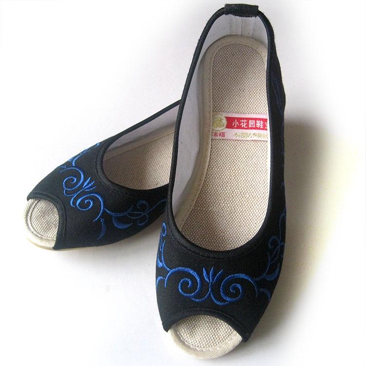 足下有福绣花鞋帆布鞋女鞋夏凉鞋鱼嘴鞋牛筋底青花瓷黑色A6018