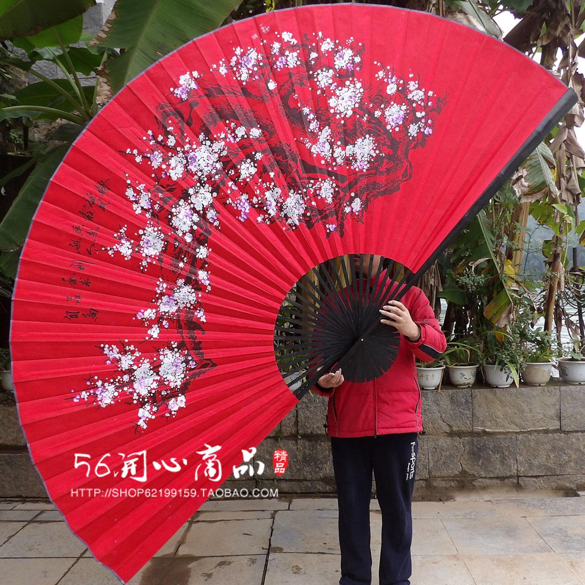 Негабаритный вешать вентилятор декоративный вентилятор китайский ветер ремесла шёлковая ткань большой сложить веер тень этаж магия реквизит свадьба фотография цветка сливы