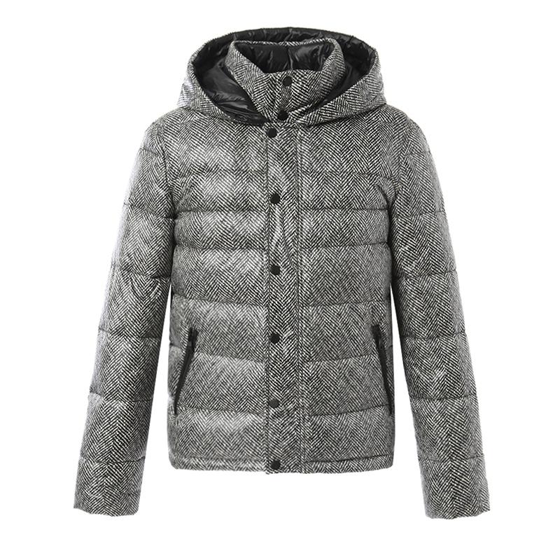 梦娜世家男士新款秋冬轻薄休闲时尚黑白纹保暖短款羽绒服促销A03