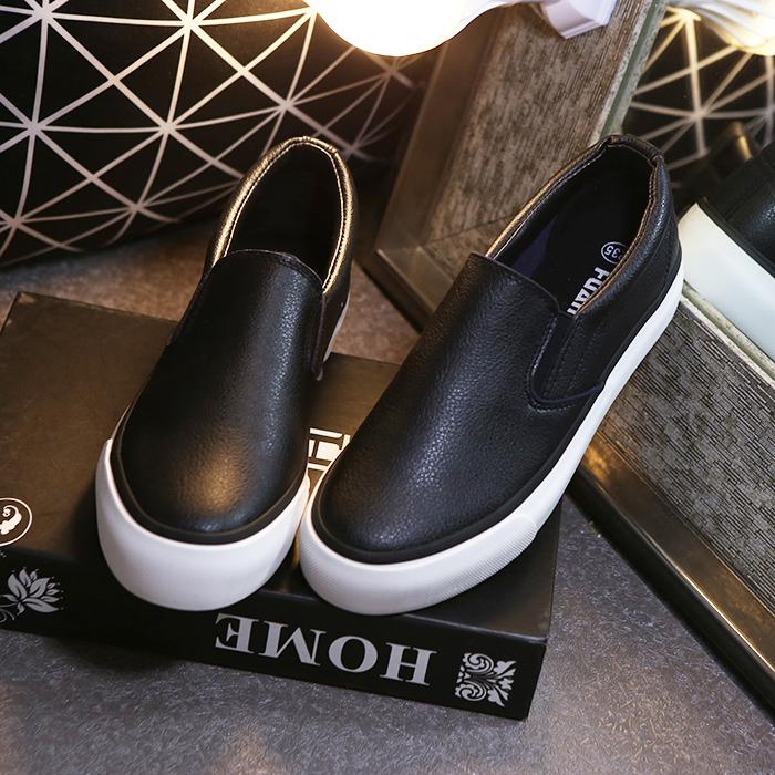 Корейская версия Глобальная кожа толстой подошве Холст обувь женщин с одной педали ленивый белые туфли Лок Фу обувь досуг обувь студент обувь