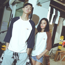 Mr 3 seconds! 2015 autumn collection Male and female students sweethearts outfit trend plug-in sleeve TEE 7 minutes of sleeve T-shirt