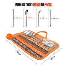 Outdoor Picnic Bag Camping tableware pack National wind tableware set stainless steel chopsticks Western knife and fork Spoon