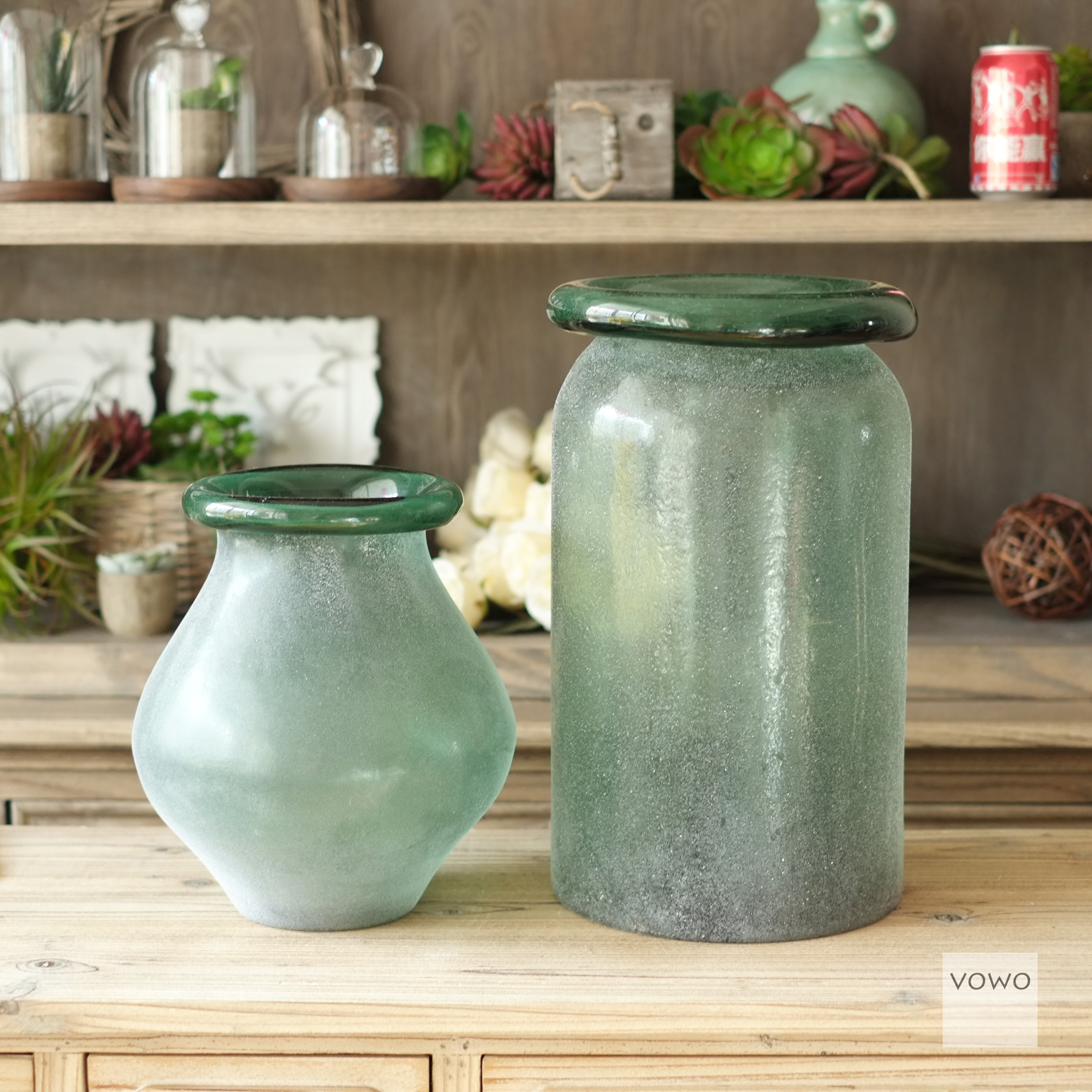 清仓甩卖 磨砂手工拉毛玻璃花瓶做旧吹制翻口花器复古摆件