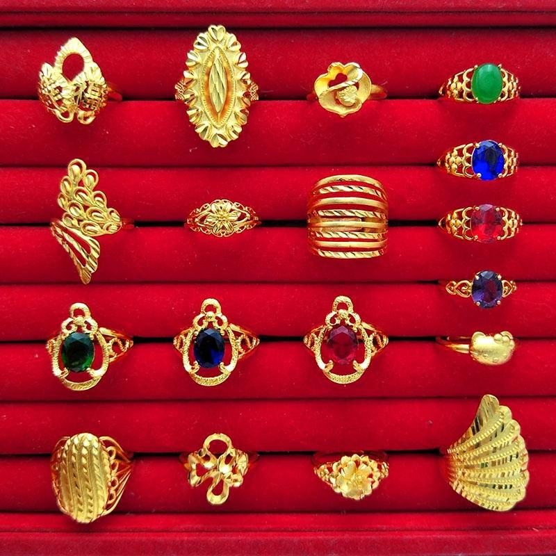 仿越南沙金红宝石花朵戒指女欧币镀金百搭开口女士食指环婚庆饰品