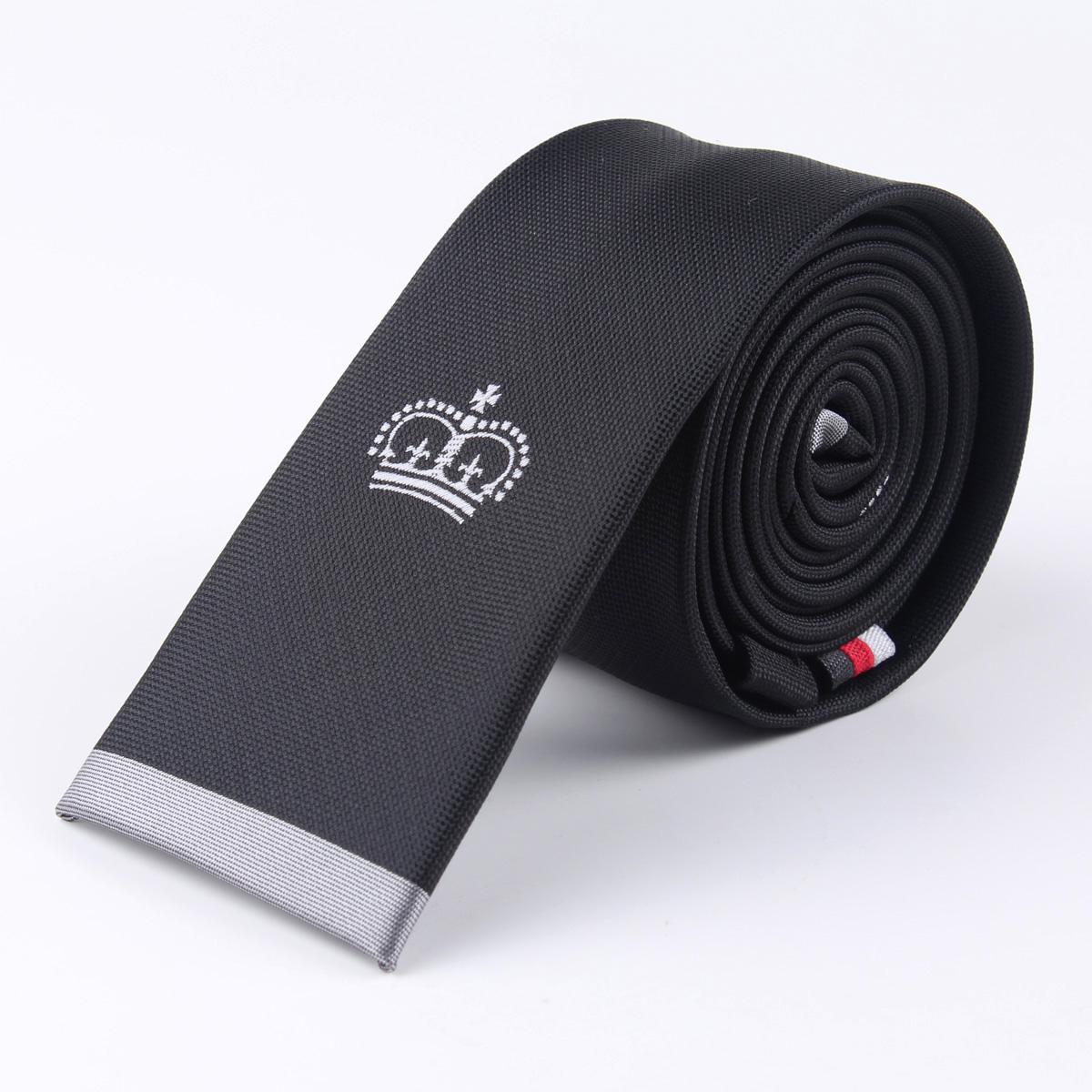 TreeSmile 新款平头领带潮男时尚窄logo领带皇冠标记黑色韩版