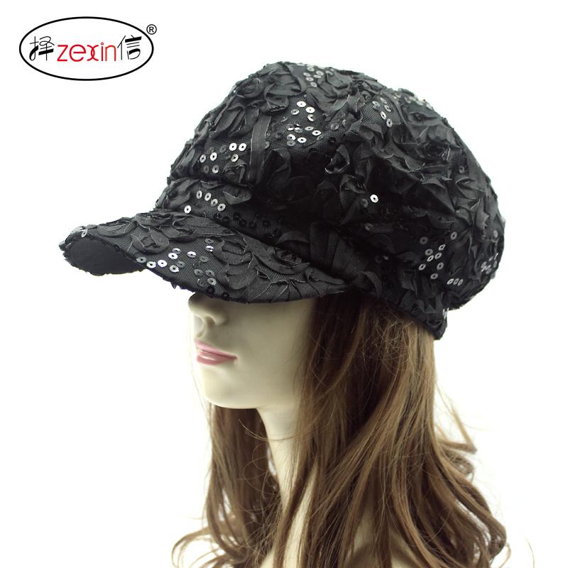 韩版帽子女士春秋蕾丝花朵亮片封口八角帽防晒遮阳帽画家帽鸭舌帽