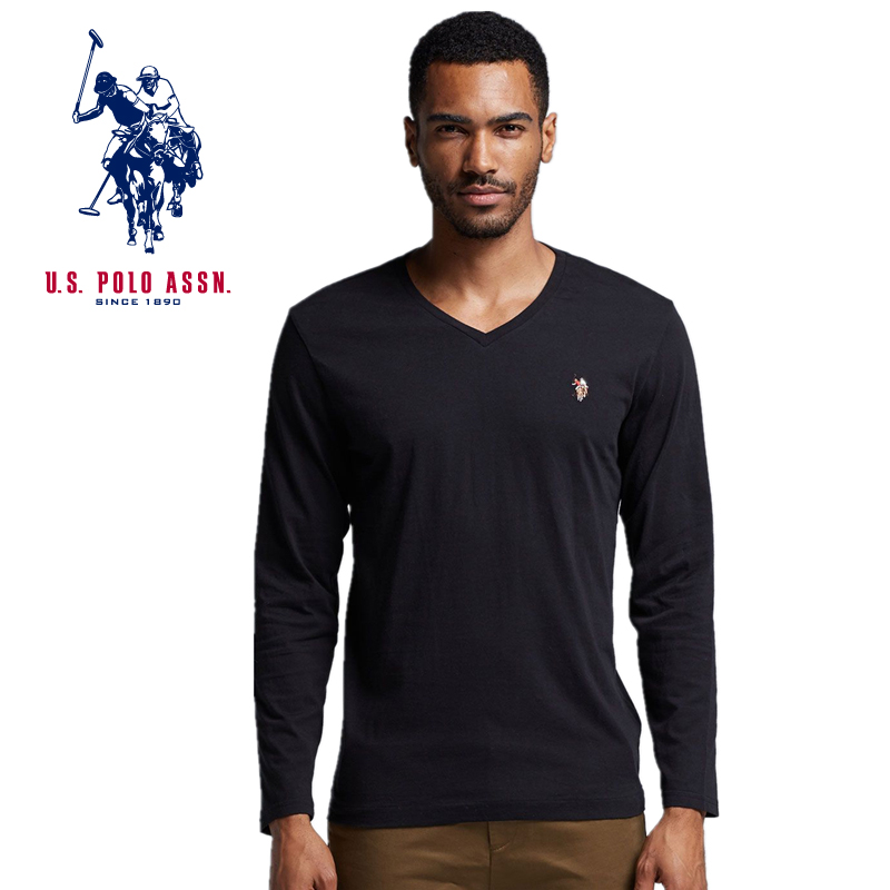American Polo Association t-shirt mens solid color V-neck bottom shirt cotton long sleeve top spring and Autumn