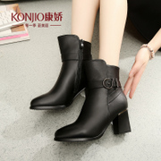 Kang Jiao Martin boots shoes short boots women flashes in autumn wind of England with Europe and the rough with short tube tip fall/winter products