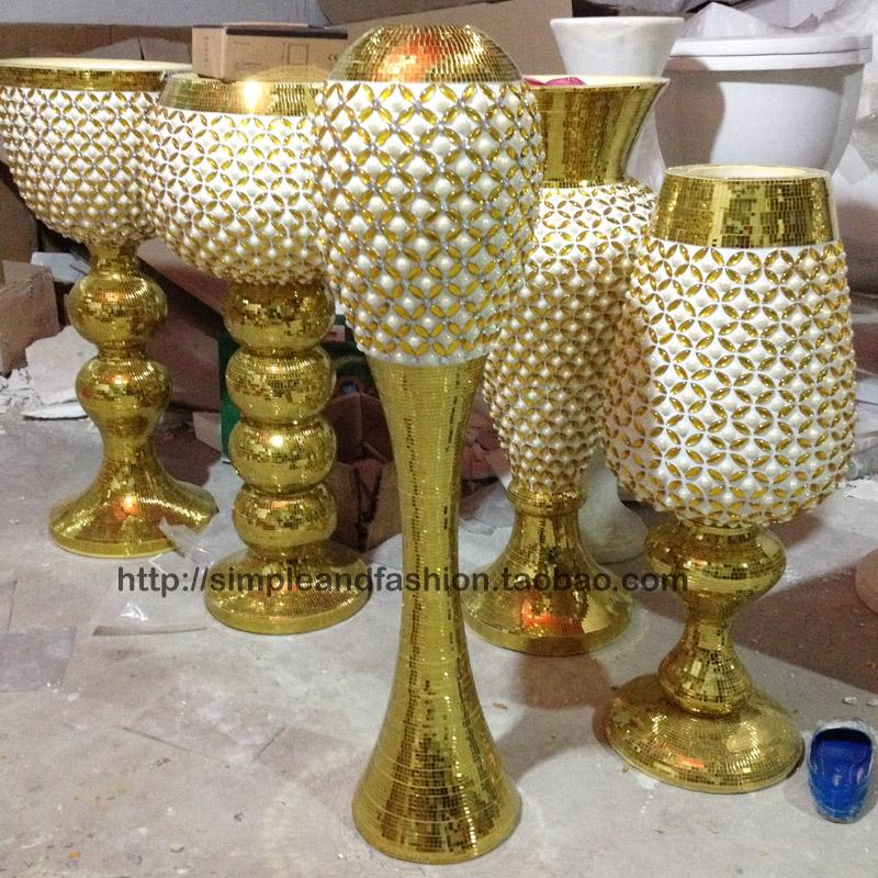 欧式落地玻璃马赛克奢华金色大花瓶