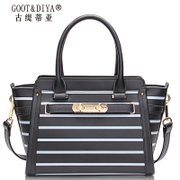 Platinum leather women bag Birkin bag lady bag 2015 winter tide brand bags black and white striped hand shoulder bag