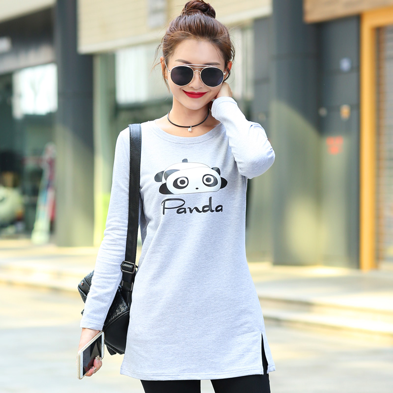 長袖中長款T恤女裝秋裝棉體恤衫2016 寬鬆大碼單邊開叉潮淑女