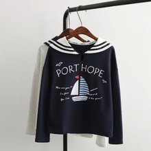 Manul autumn outfit new Japanese sen female is sailing printing navy long sleeve head fleece Female coat