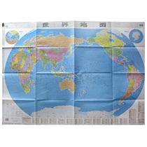 随图赠送强力双面贴全新版2018仿古墙贴地图挂画高清客厅办公室装饰画米x0.8米1.1仿古套装版中国地图挂图世界地图
