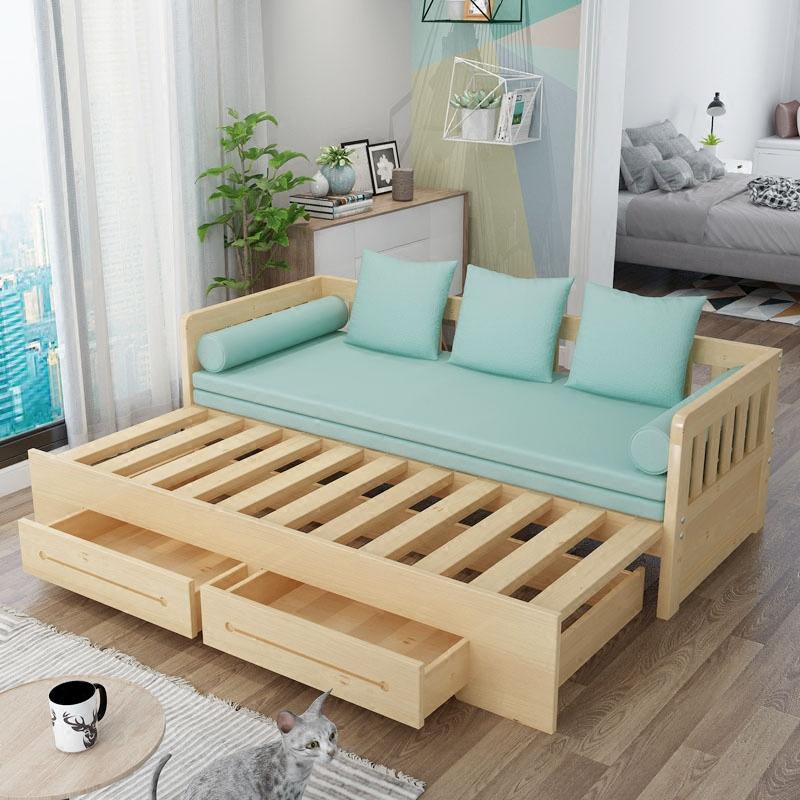 多功能可折叠推拉单人实木沙发床