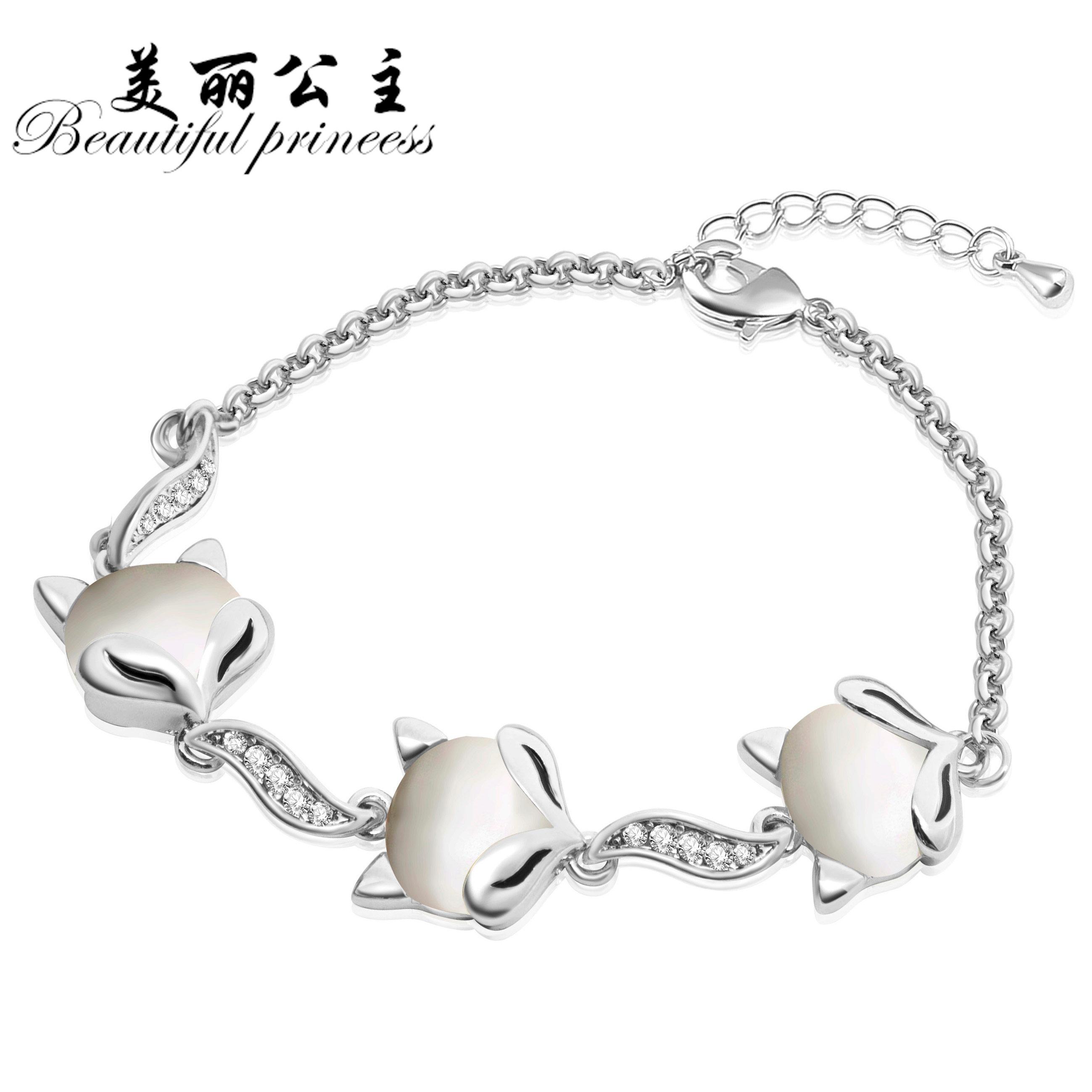 甜美簡約狐狸貓眼石手鏈手鐲手環女韓國 動物 學生手飾品