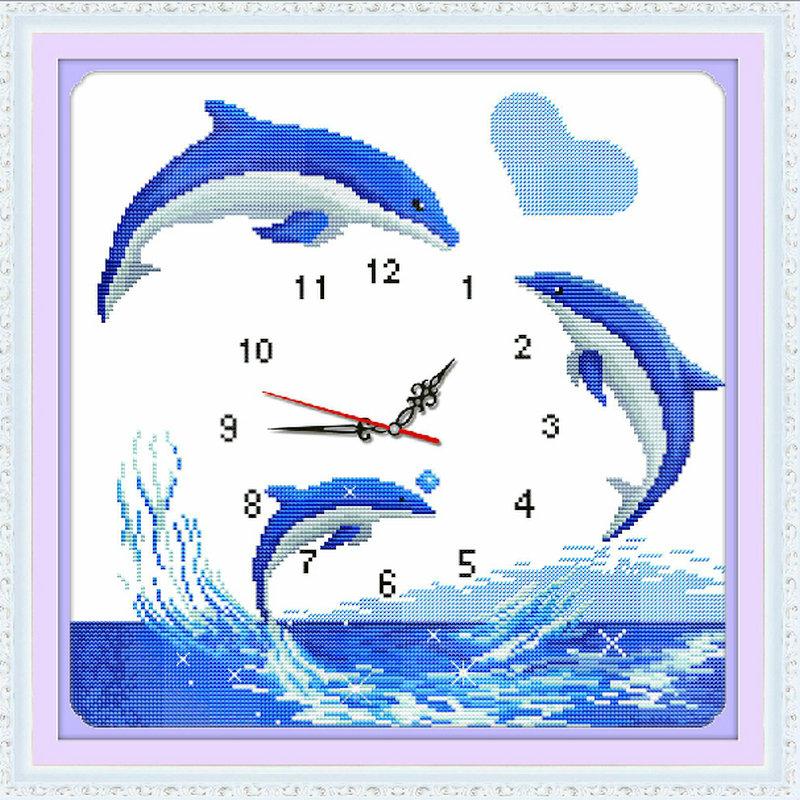 钟表挂钟2020线绣新款海豚十字绣