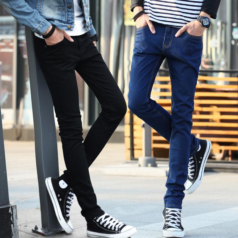 修身男士青少年黑色小腳褲
