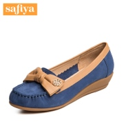 Safiya/Sophia-fall 2015 new leather colour matching bow wedges shoes women shoes SF53119804