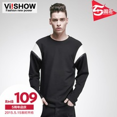 Viishow2015 spring and autumn new men stitching matching color sweater Turtleneck Sweater in Europe and simple round neck shirt