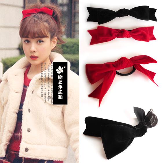 日韩版系vivi杂志玲奈同款黑红色萌软妹复古蝴蝶结发头饰顶夹卡圈